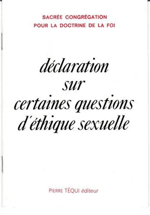 Déclaration sur certaines questions d´éthique sexuelle