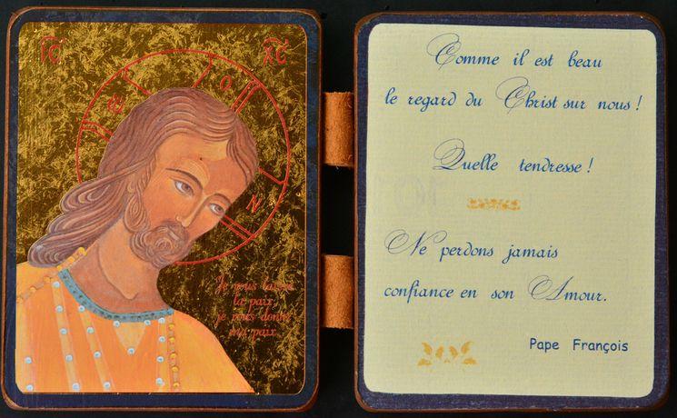 Diptyque qualité Or Christ Amour et Sagesse - Citation pape François 13 x 19 cm