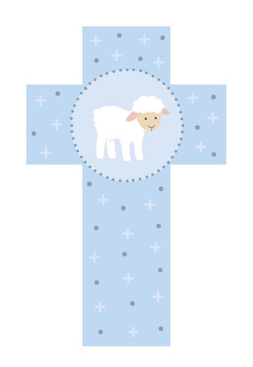 Croix agneau bleu