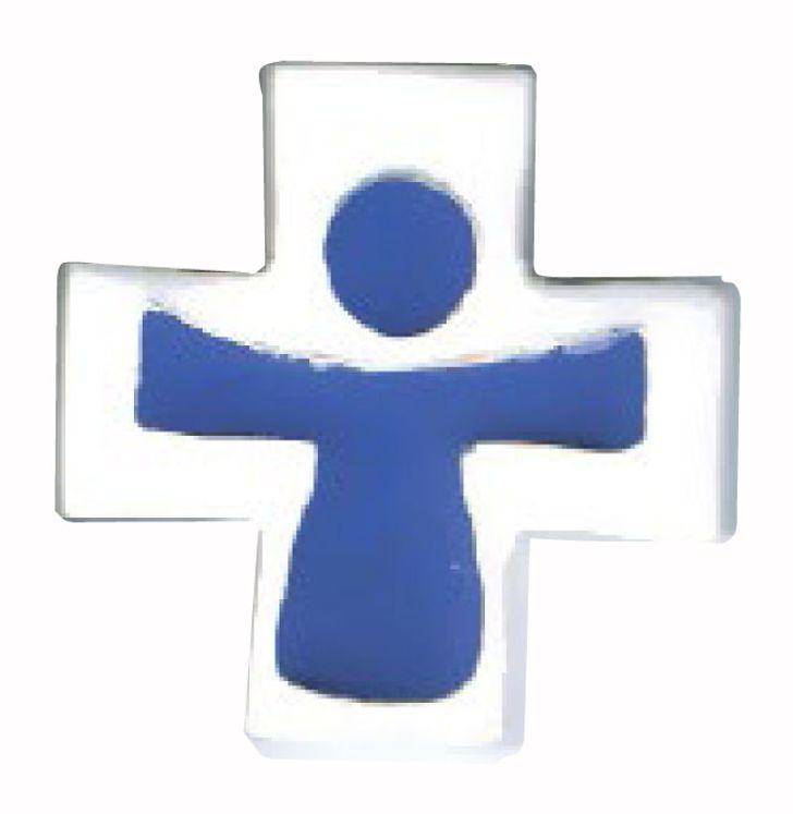 Croix céramique Christ couleur bleu - fond blanc - petit