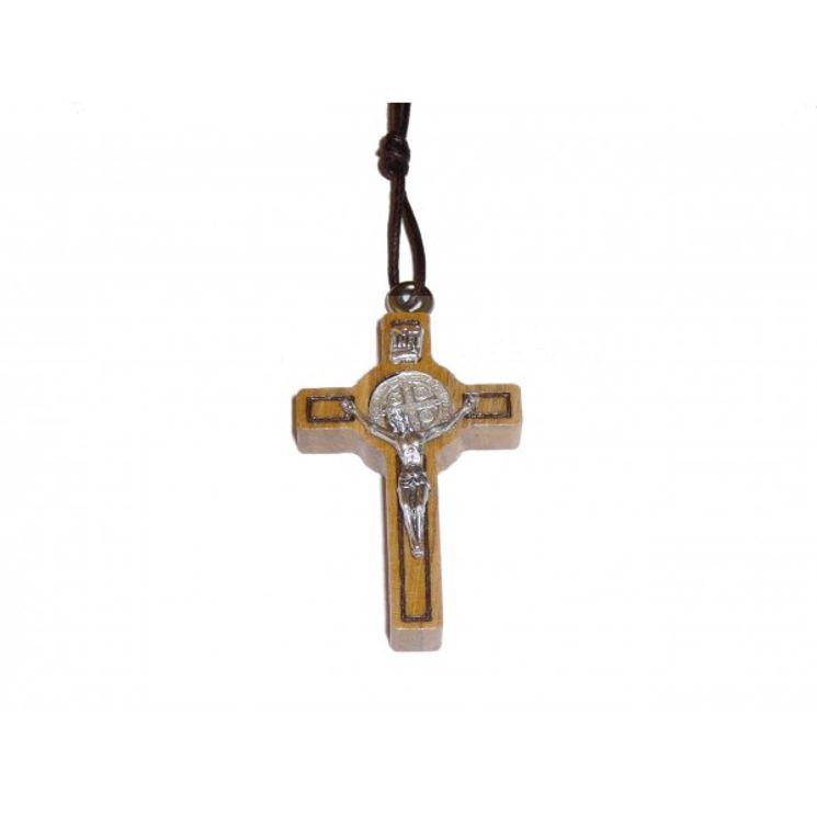 Croix de Saint Benoit sur cordon, en bois d´olivier