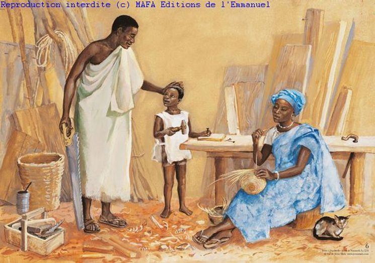 Jésus à Nazareth  (Lc 2,51), Carte double Vie de Jésus Mafa