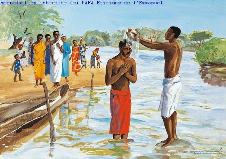 Le Baptême de Jésus  (Mt 3,13), Carte simple Vie de Jésus Mafa