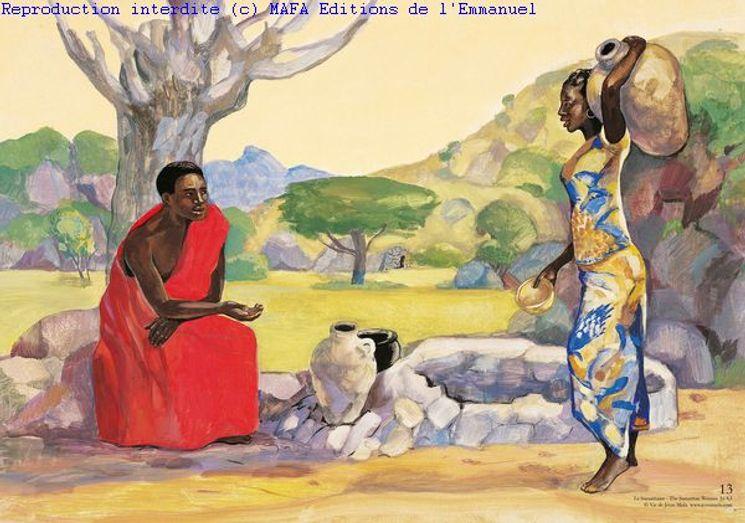 La Samaritaine  (Jn 4,1), Carte simple Vie de Jésus Mafa