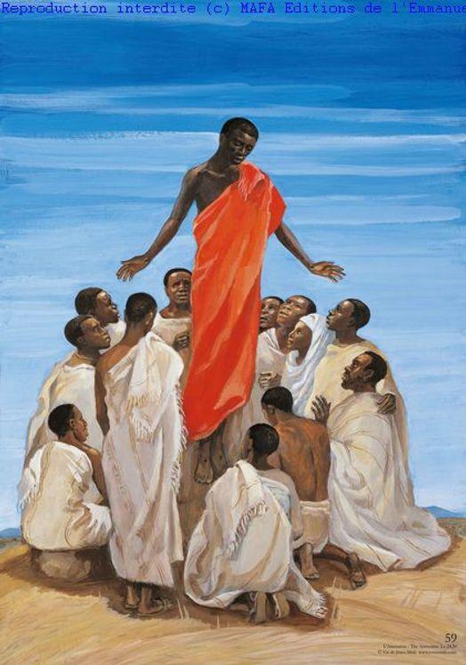 L´Ascension  (Lc 24,50), Carte simple Vie de Jésus Mafa