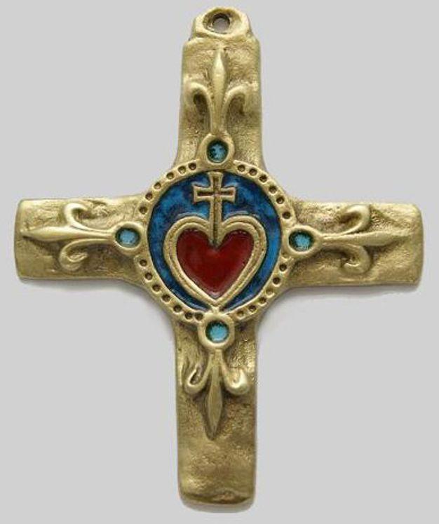 Croix en bronze émaillé, motif Coeur vendéen et fleurs-de-lys