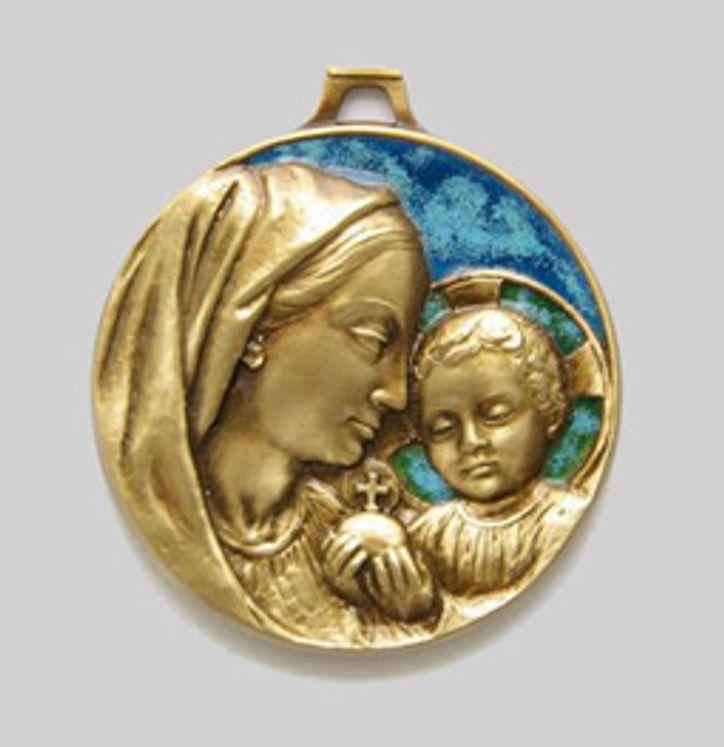 Médaille de berceau Vierge à l'Enfant en bronze émaillé