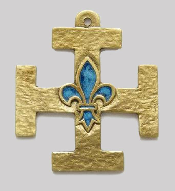 Croix murale scouts de France en bronze émaillé motif Fleur de Lys