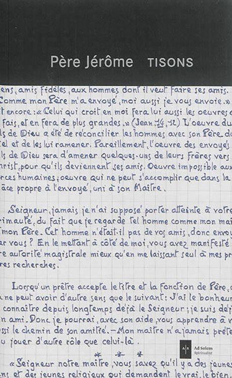 Tisons cahier de textes facsimilés du Père Jérôme