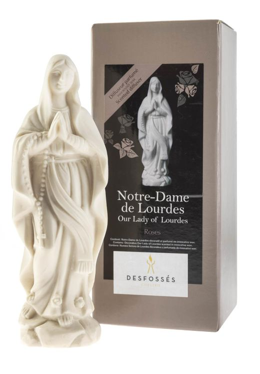 Statuette cire parfumée Notre Dame de Lourdes (bois de rose)