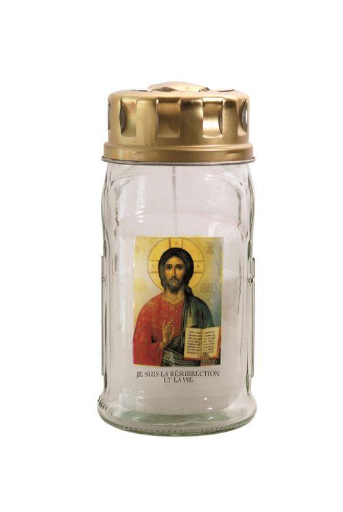 Veilleuse verre Christ Pentocrator
