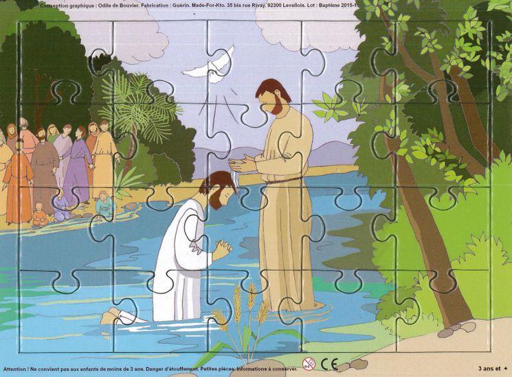 Puzzle sur planche 20 pièces - Le baptême de Jésus