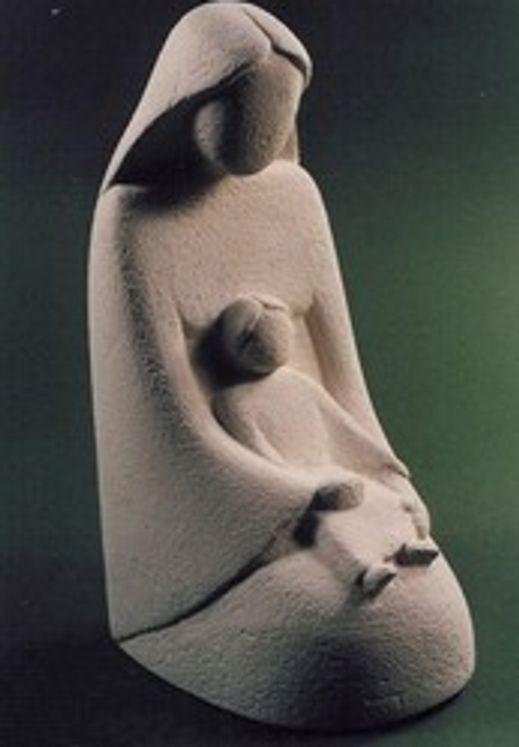 Statue Vierge à l´enfant à genoux  Nicole Callard rec. 15cm