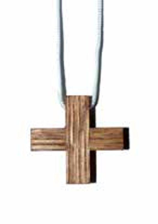 Croix bois sur cordon 3,3  cm x 3,3 cm