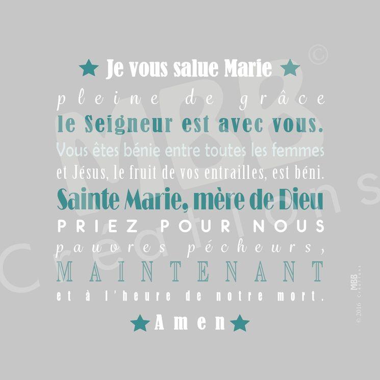 """Toile prière  Gris/Bleu vert  """"Je vous salue Marie"""" - Format 20 x 20"""