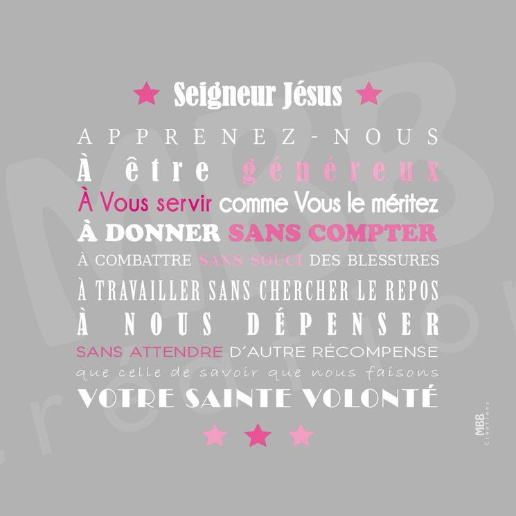 """Toile prière Gris/Rose """"Prière Scoute - Seigneur Jésus"""" - Format 20 x 20"""