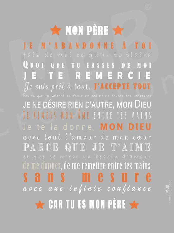 """Toile prière Gris/Orange """"Prière d´abandon Charles de Foucauld"""" - Format 40 x 30"""