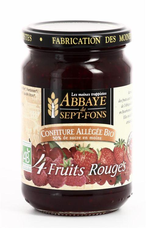 Confiture de Quatre fruits rouges allégée bio, pot de 350 g