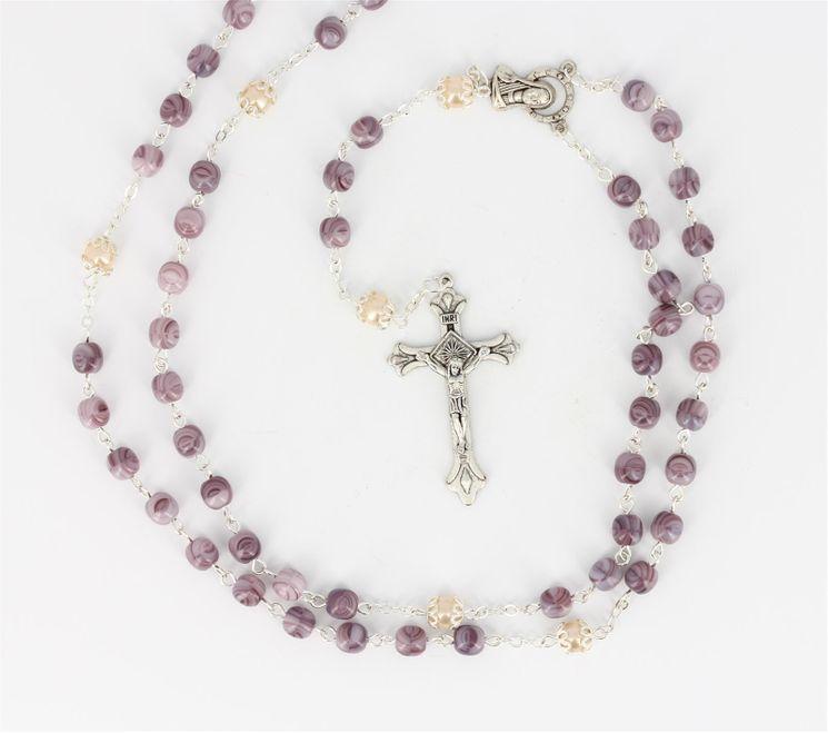 Chapelet Perles marbrées mauve 50cm