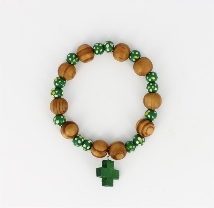 Dizainier Bois sur ruban élastique Vert - Diam 6 cm