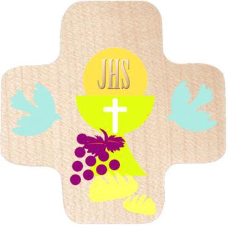 Croix en érable Eucharistie et Esprit Saint