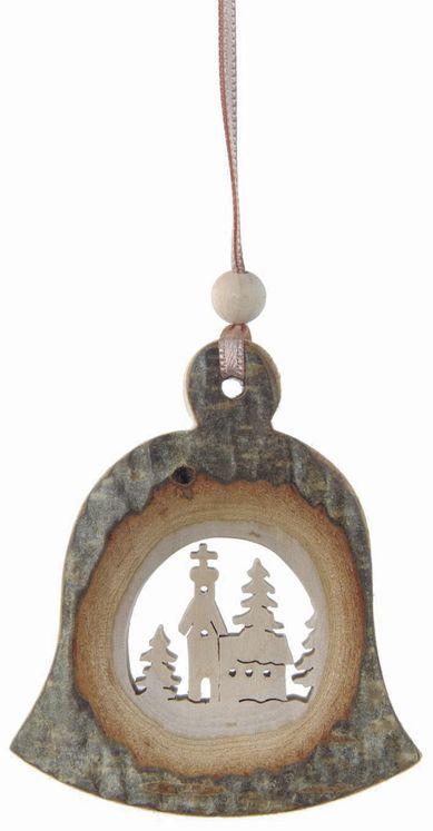 Décoration Noël Cloche Eglise avec ficelle à suspendre