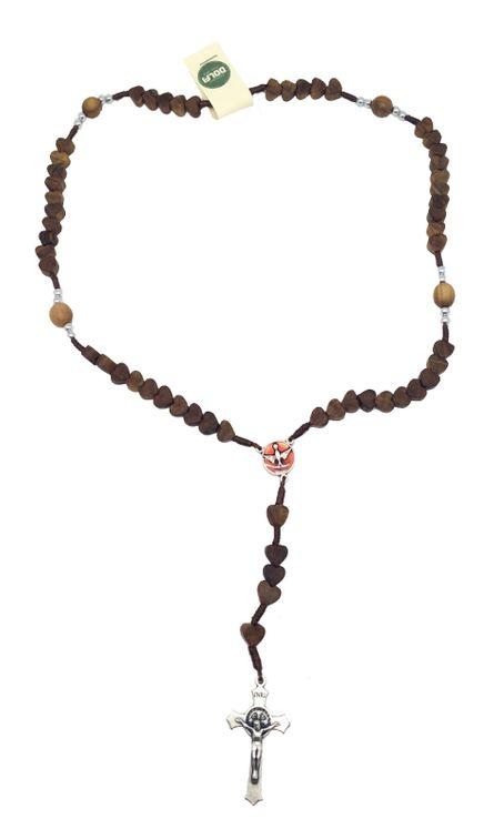 Chapelet en bois sur cordon grain coeur avec Croix et medaille de saint Benoît