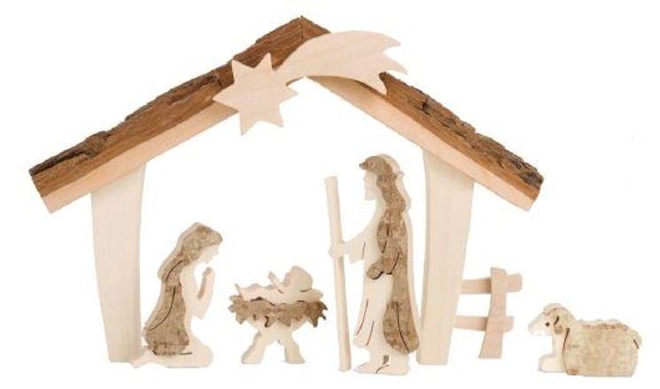 Sainte famille avec crêche- 12,5 cm