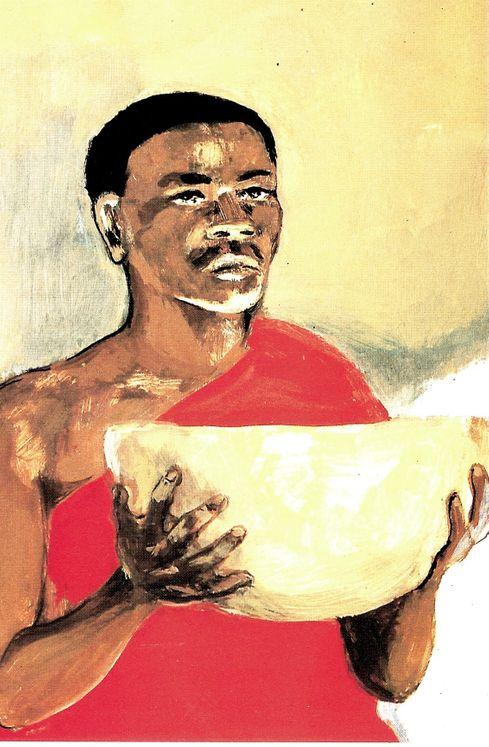 Le Christ au Dernier Repas, Carte simple Vie de Jésus Mafa