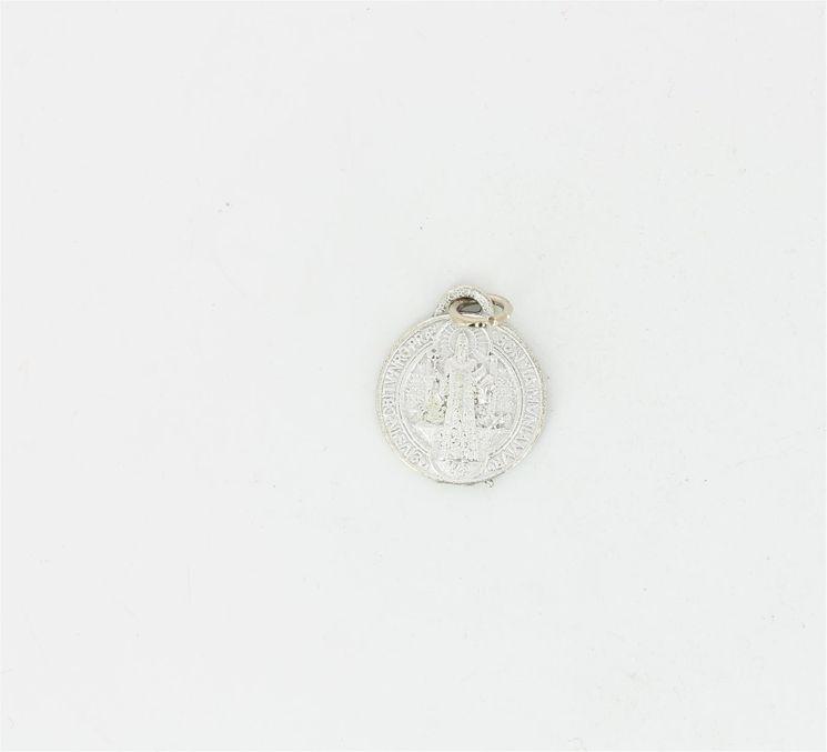 Médaille argent rhodié - St Benoit - diamettre 17 mm
