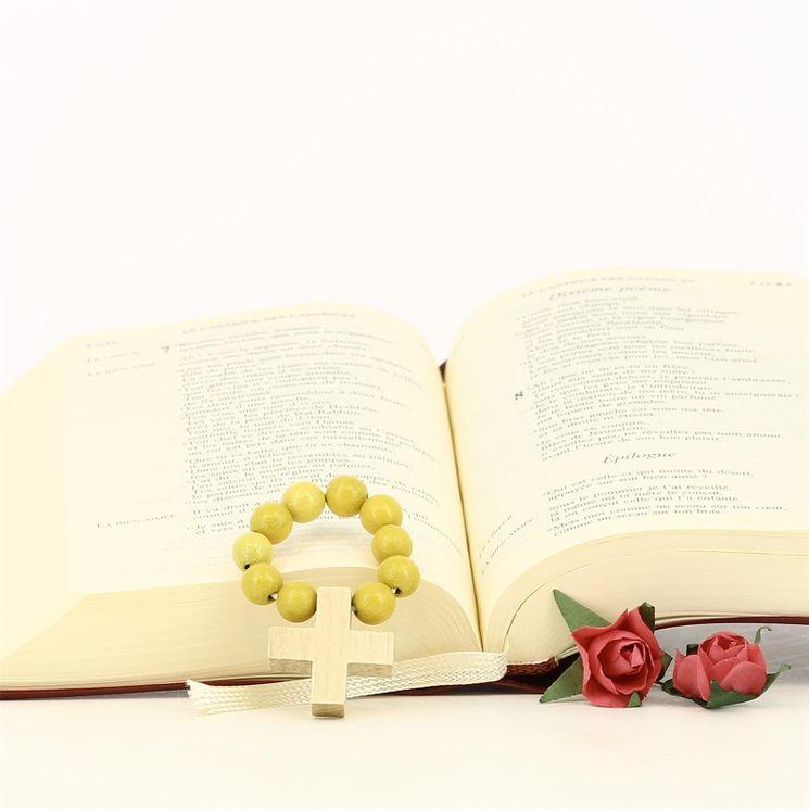 Dizainier perles bois jaunes sur éastique