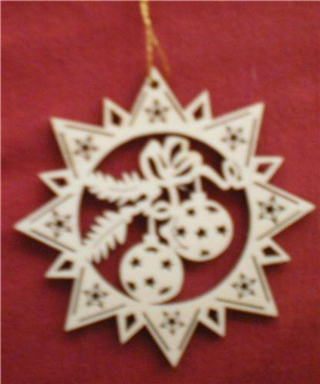 Etoile/boules de Noël en bois, 9 cm